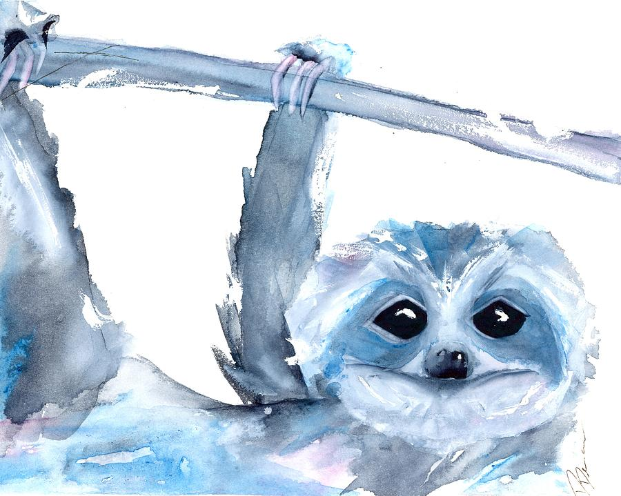 Sloth Painting - Just Hanging Around by Dawn Derman