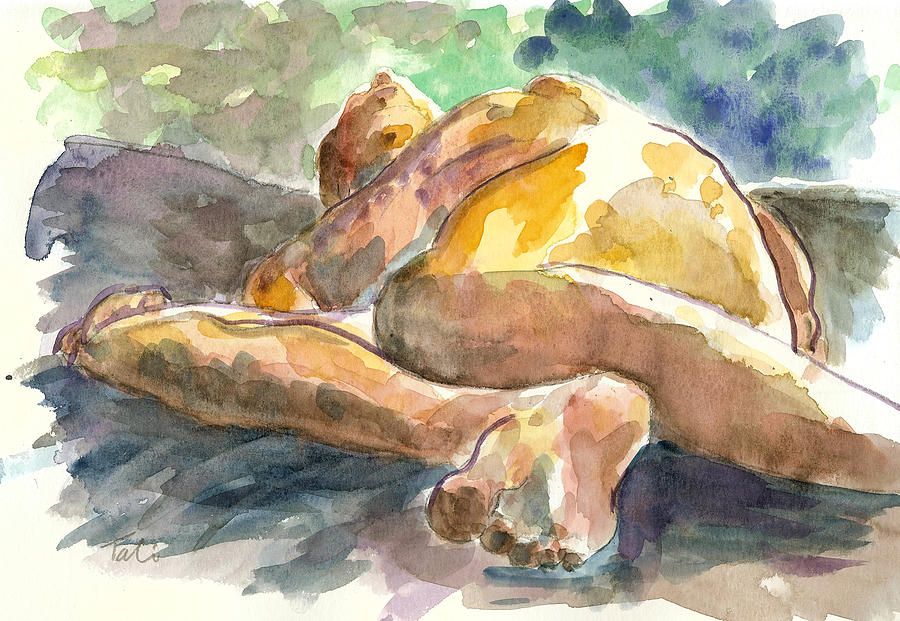 Nude Man Painting - Just Him. by Tali Farchi