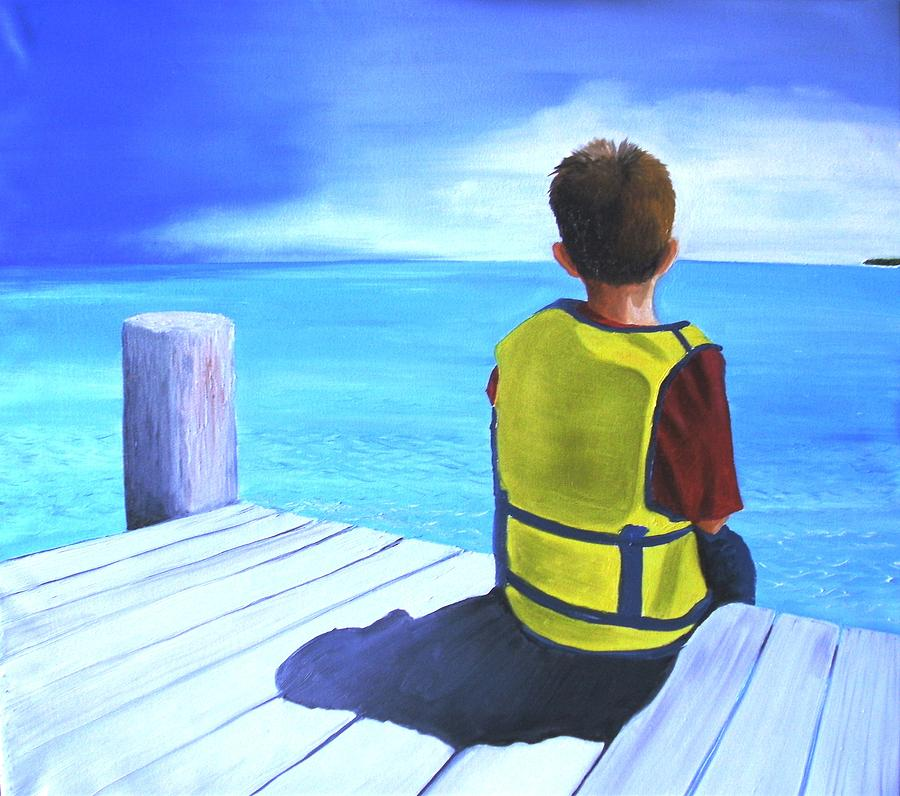 Boy Painting - Just In Case by Maria Mills