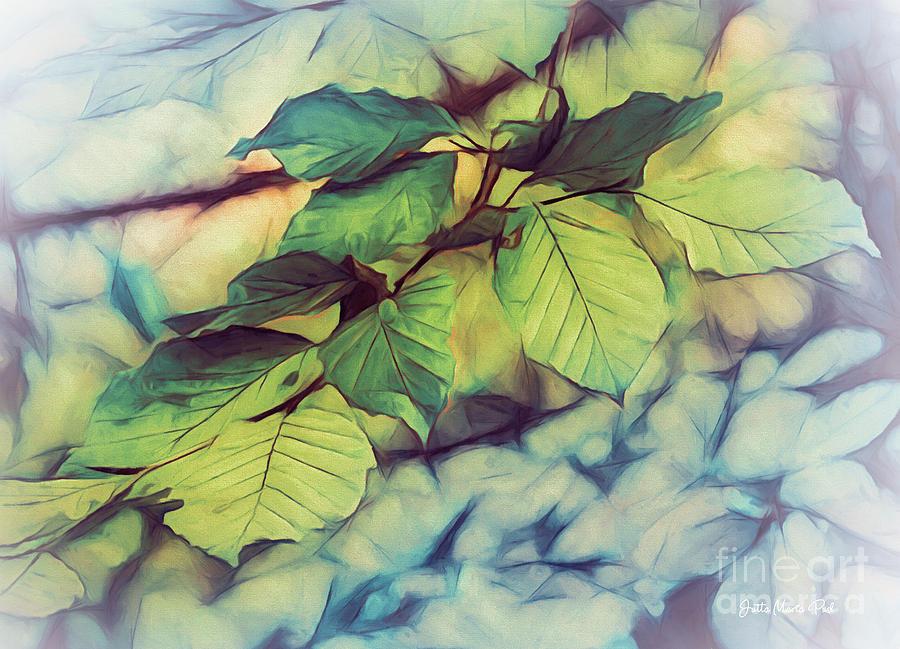 Digital Digital Art - Just Leaves by Jutta Maria Pusl