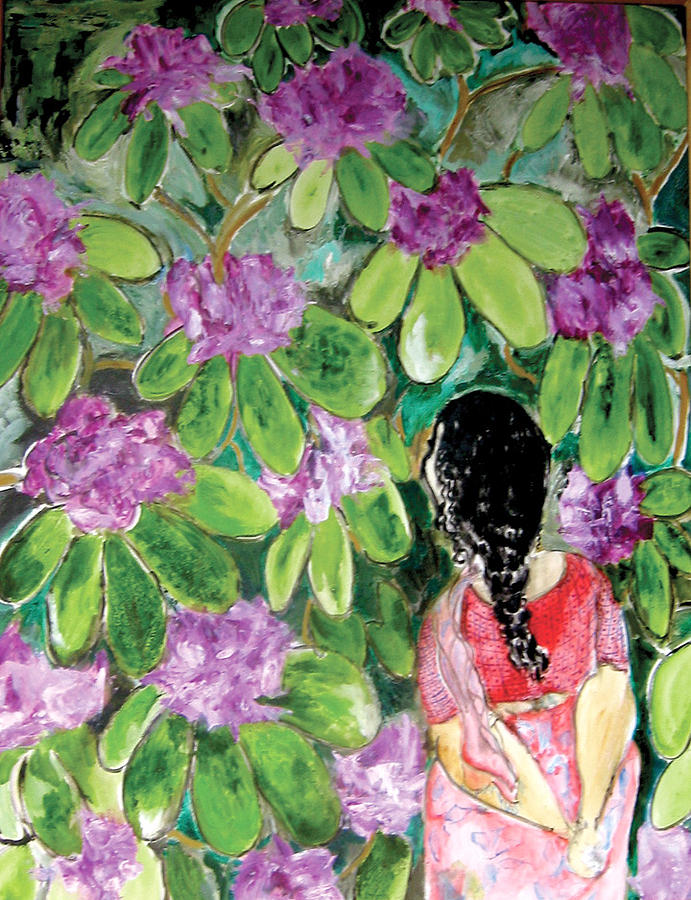 Rhododendron Painting - Just Looking by Padma Prasad