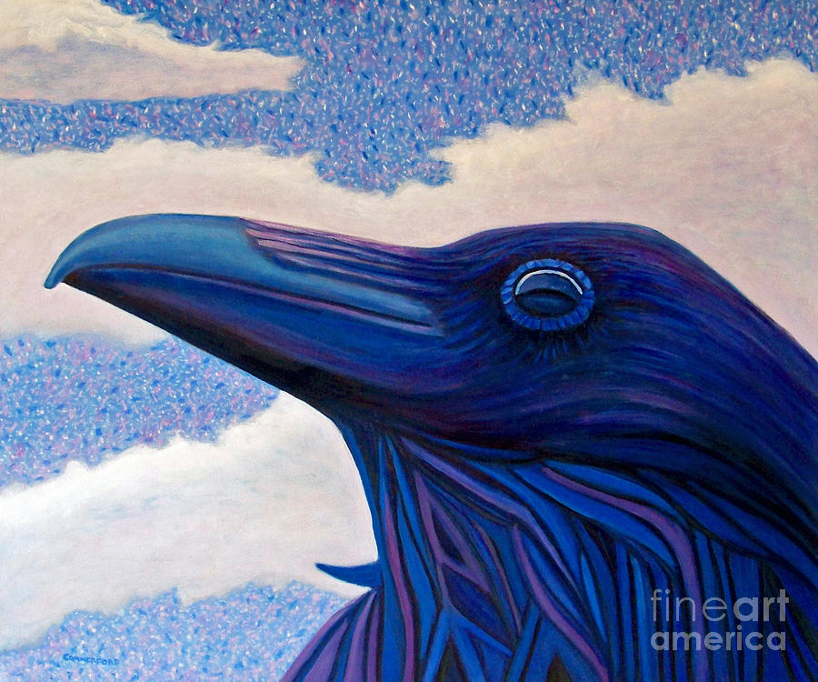 Raven Painting - Just Once by Brian  Commerford