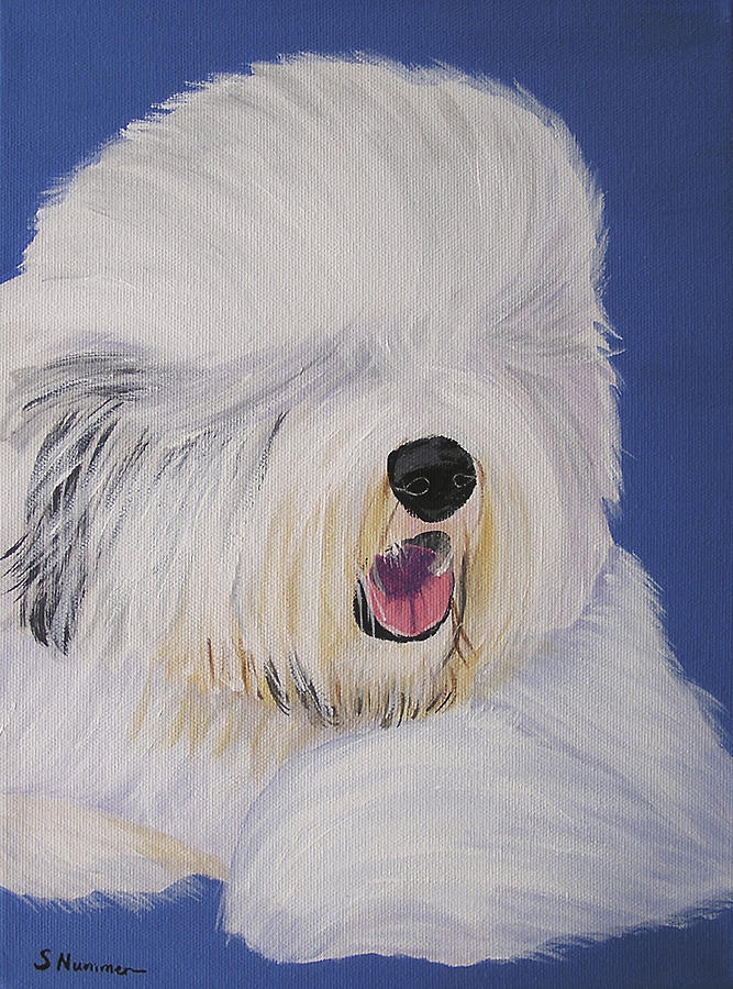 Old English Sheepdog Painting - Just Relaxing by Sharon Nummer