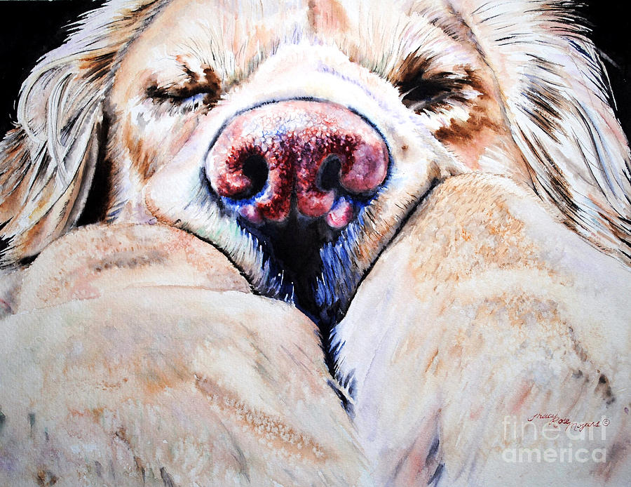 Golden Retriever Painting - Just Snoozing by Tracy Rose Moyers