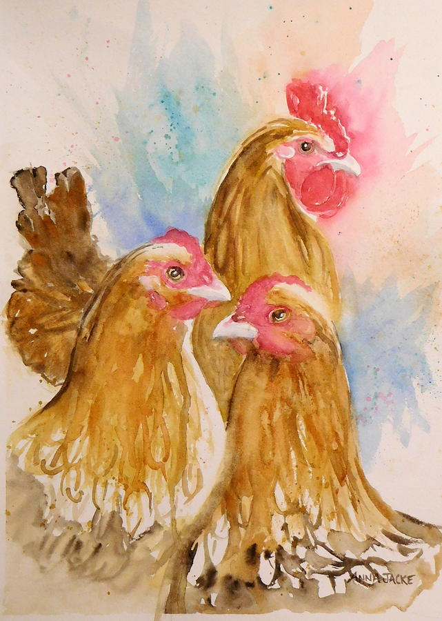 Buff Orpington Chickens Painting - Just The 3 Of Us by Anna Jacke