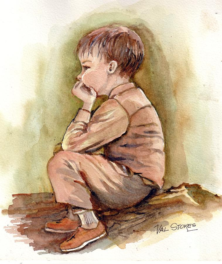 Young Lad Painting - Just Thinking.. by Val Stokes