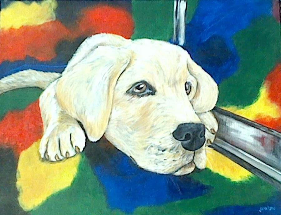 Dog Painting - Just Waiting by Jenny Pickens