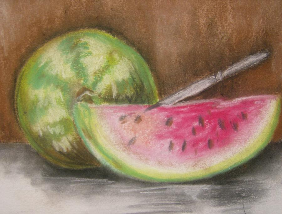 Still Life Drawing - Just Watermelon by Leslie Manley