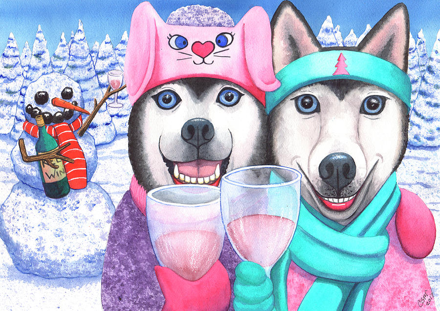 Husky Painting - Just Wining In A Winter Wonderland by Catherine G McElroy