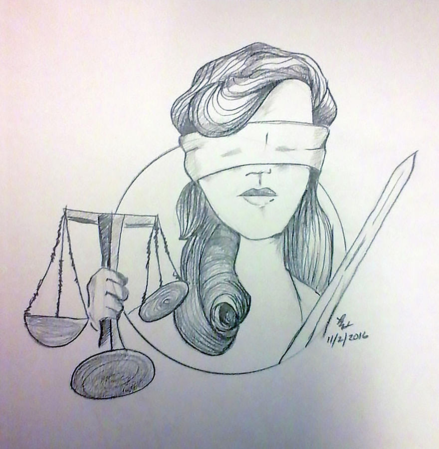 Color Pencil Painting - Justice by Loretta Nash