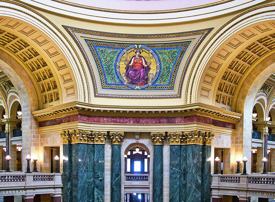 Madison Photograph - Justice Mural - Capitol - Madison - Wisconsin by Steven Ralser