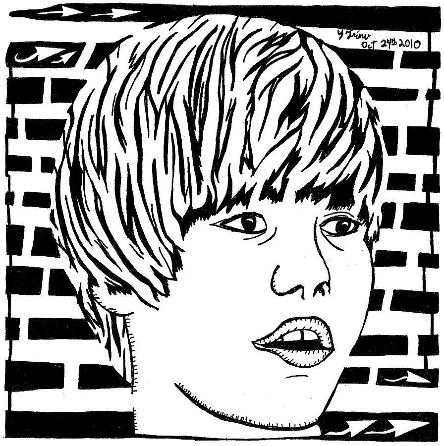 Justin Bieber Drawing - Justin Bieber Maze Portrait by Yonatan Frimer Maze Artist