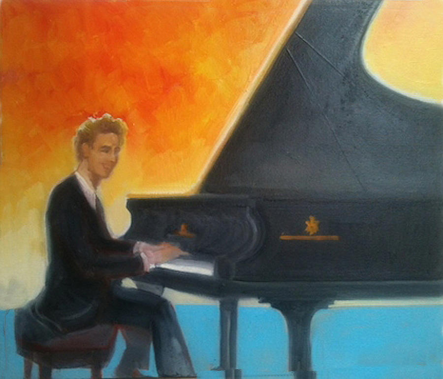 Justin Levitt at piano Red Blue Yellow by Suzanne Cerny
