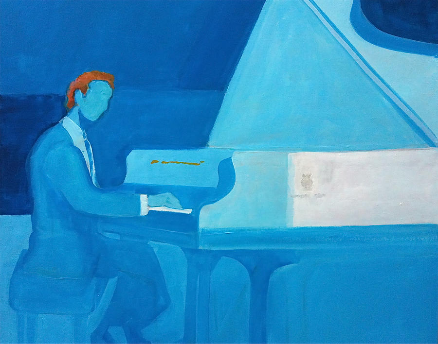 Justin Levitt Steinway Piano Blue by Suzanne Cerny