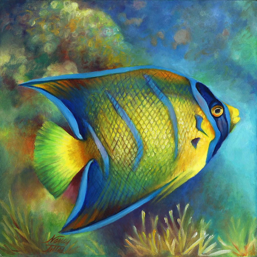 Juvenile Queen Angel Fish Painting by Nancy Tilles