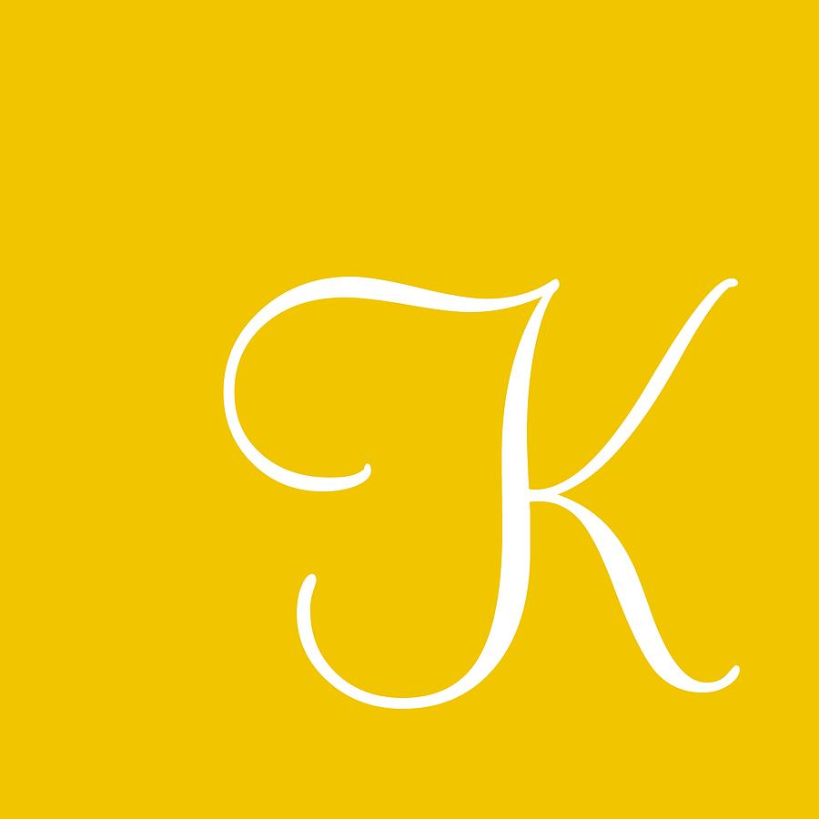 K Digital Art - K In White Simple Script by Custom Home Fashions