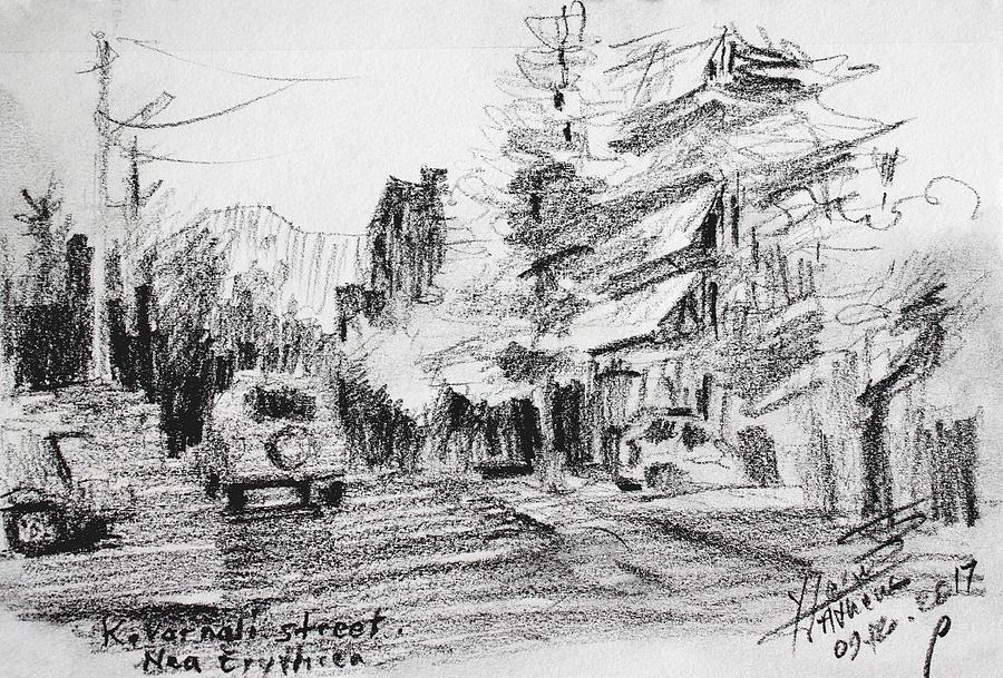 Athens Drawing - K Varnali Street Nea Erythraia  by Ylli Haruni