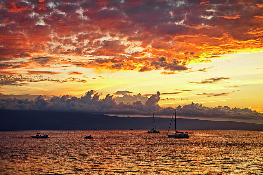 Landscape Photograph - Kaanapali Sunset Fire by Marcia Colelli