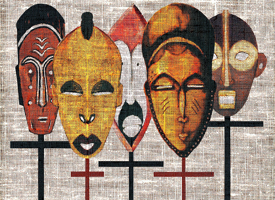 African Masks Digital Art - Kabila Masks by Regina Wyatt