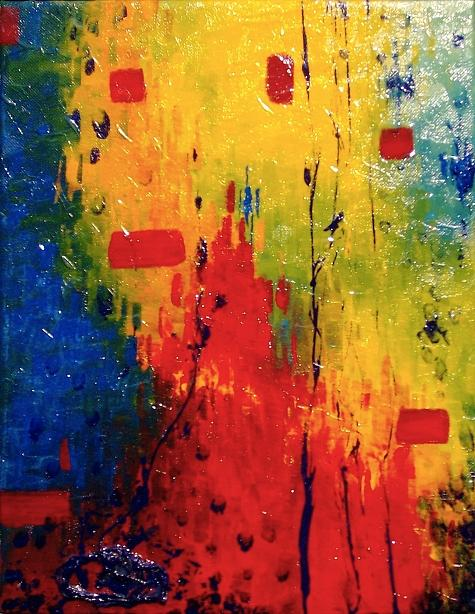 Colorful Painting - Kaboom by Lisa Stevens
