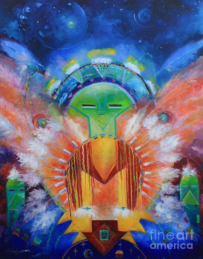 Native American Painting - Kachina Spirit by Gail Salitui