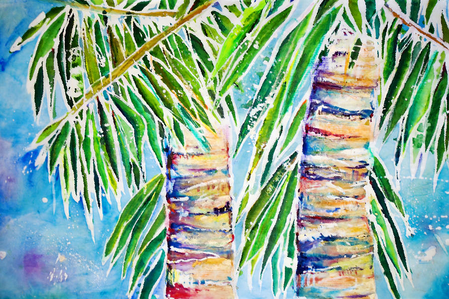 Acrylic Painting - Kaimana Beach by Julie Kerns Schaper - Printscapes
