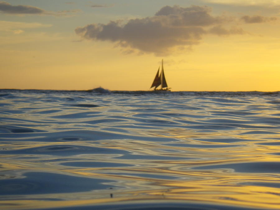 Kaimana Photograph - Kaimana Golden Sunset by Erika Swartzkopf