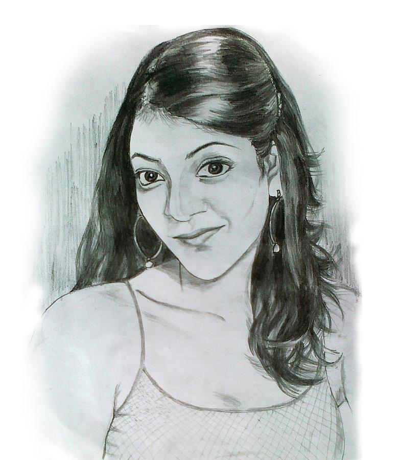 Kajal Agarwal Drawing By Vinod Narayanan
