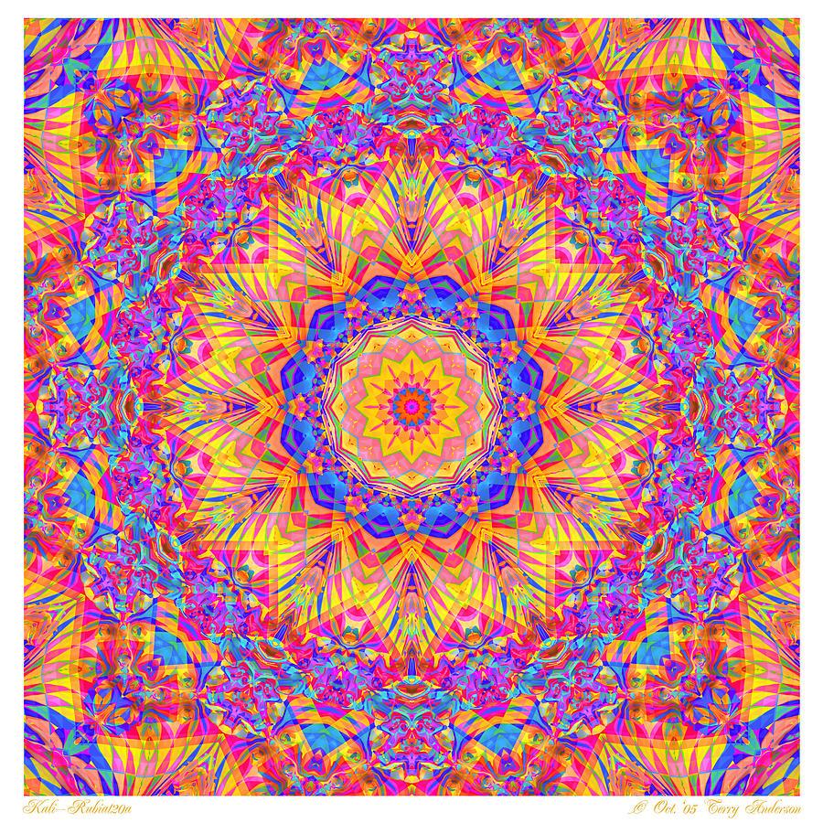Mandala Digital Art - Kaleido - Rubiat 20a - Sq by Terry Anderson
