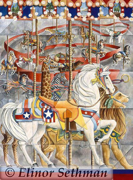 Carousel Animals Painting - Kaleidoscope Carousel by Elinor Sethman