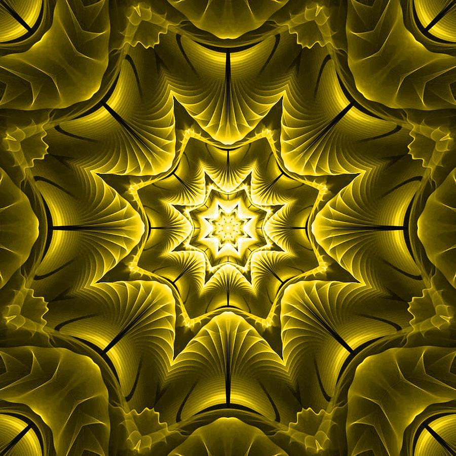 Kaleidoscope Fantasy In Yellow L B Digital Art by Gert J Rheeders