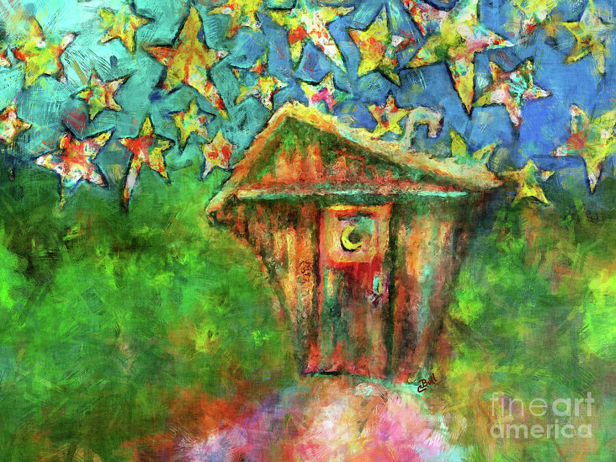 Outhouse Painting - Kaleidoscope Skies by Claire Bull