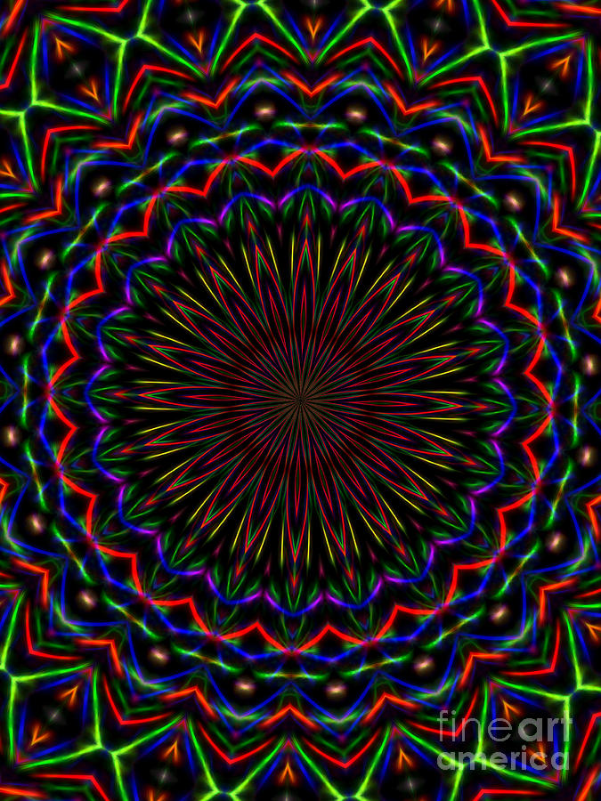 Kaleidoscope Photograph - Kaleidoscoped Fireworks by Suzanne Handel