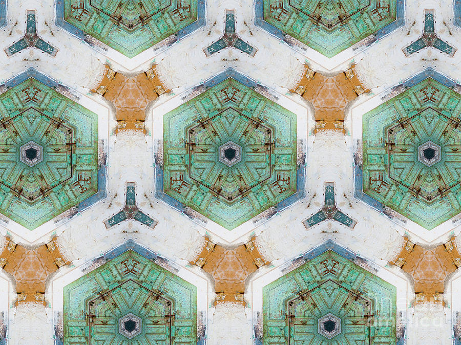 Abstract Photograph - Kaleidoscope In Mint And Orange by Agnieszka Kubica