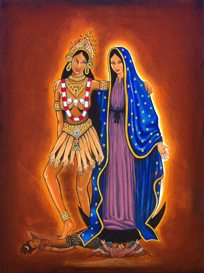 Kali Painting - Kali And The Virgin by James Roderick