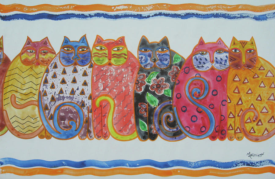 Cats Painting - Kalico Kitties by Marsha Elliott