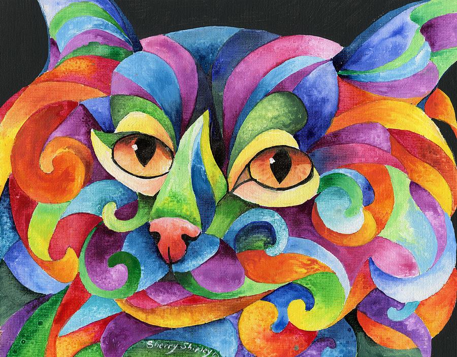 Cat Painting - Kalidocat by Sherry Shipley