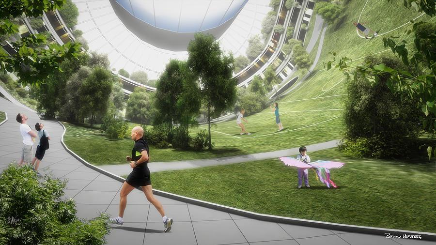 Space Settlement Digital Art - Kalpana 2 Recreation by Bryan Versteeg