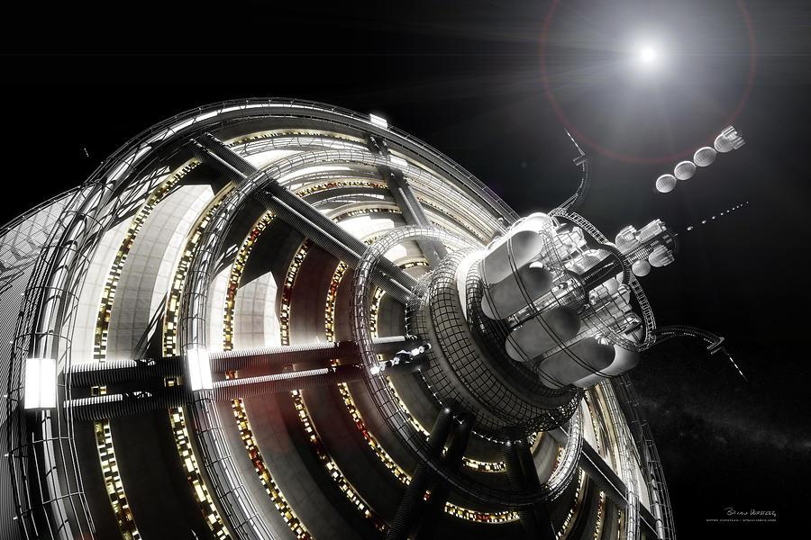 Space Station Digital Art - Kalpana One Port by Bryan Versteeg