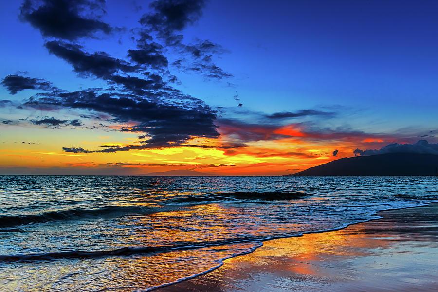 Kihei Photograph - Kamaole II Beach Park Sunset by Dave Fish