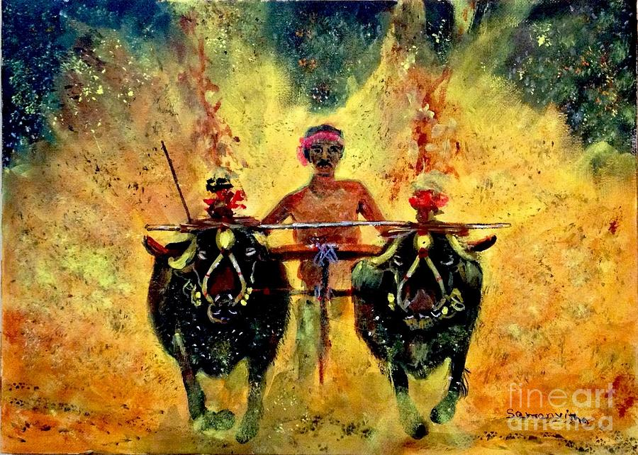 Kambala Painting By Samanvitha Rao