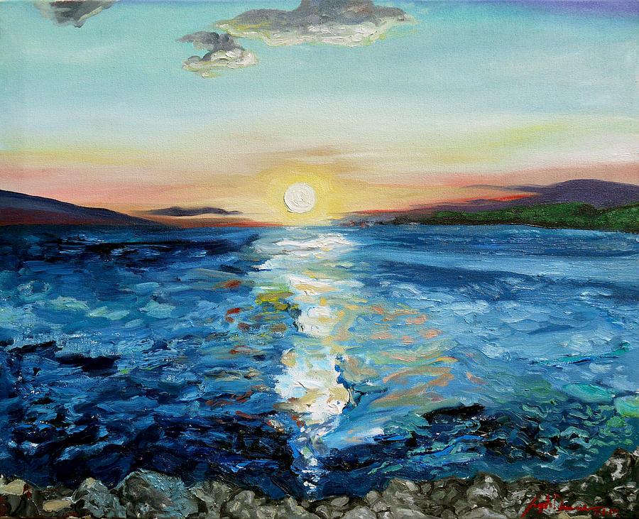 Landscape Painting - Kanaio Sunset / Between the Split by Joseph Demaree
