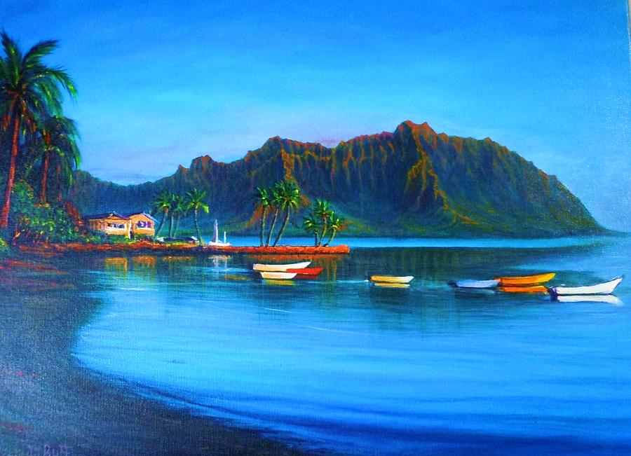 Seascape Painting - Kaneohe Bay - Early Morning Glass by Joseph   Ruff