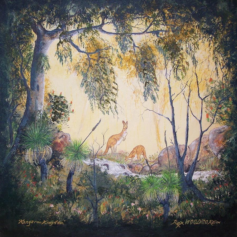 Famous Painting - Kangaroo Kingdom by Rex Woodmore