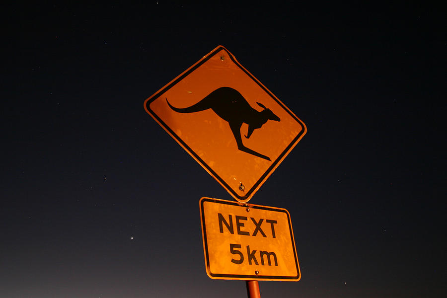 Kangaroo road sign in the Northern Territory by Keiran Lusk