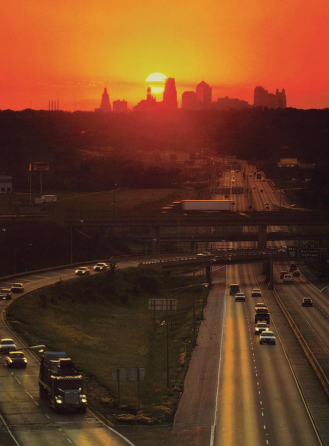 Kansas City Skyline Photograph - Kansas City I 70 Sunset by Don Wolf