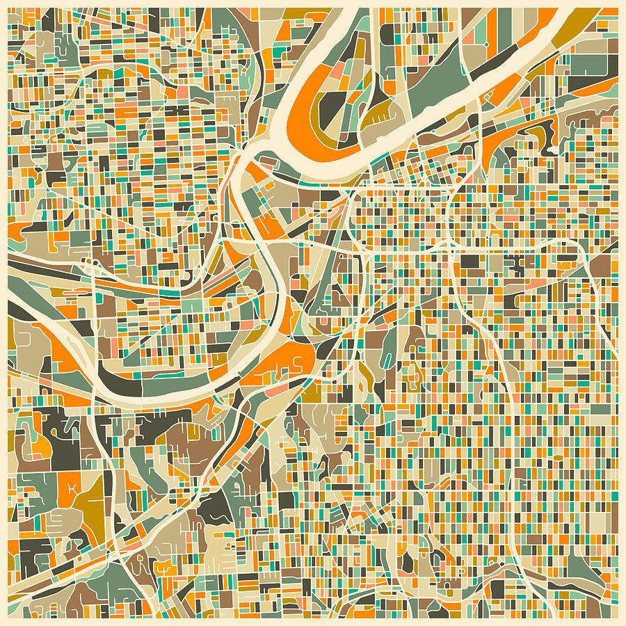 Kansas City Map Digital Art By Jazzberry Blue - Kansas city map