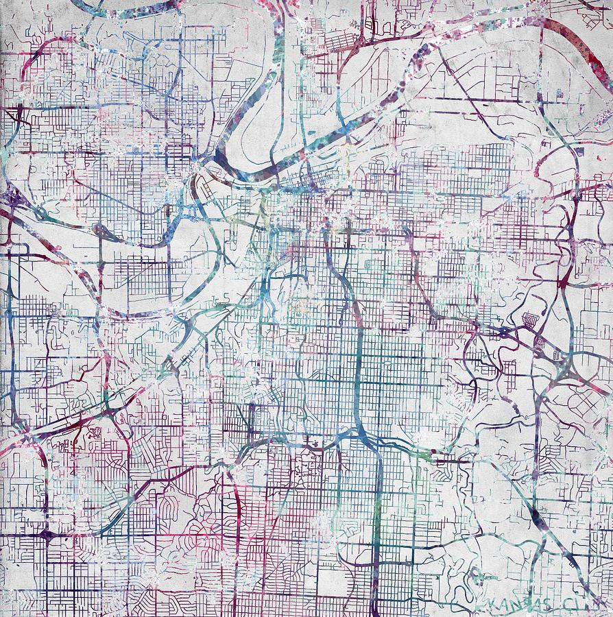 Kansas City Map Kansas Painting by Map Map Maps