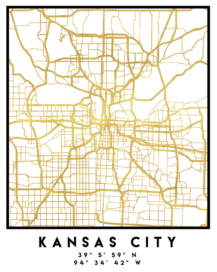 Kansas City Missouri City Street Map Art