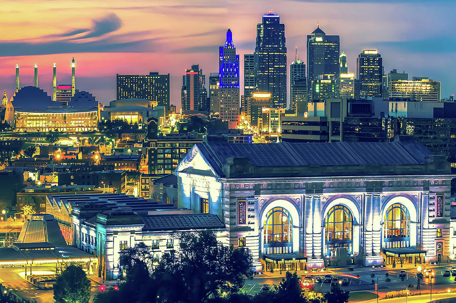 Kansas City Skyline Architecture at Dusk by Gregory Ballos